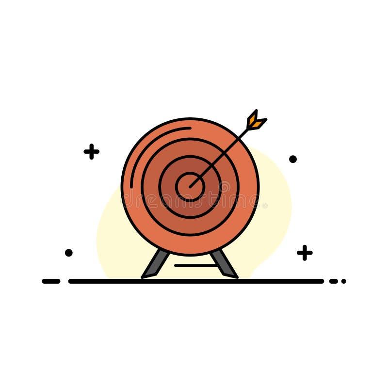 Målet syftet, arkivet, affären, målet, beskickningen, plan linje för framgångaffär fyllde mallen för symbolsvektorbanret vektor illustrationer