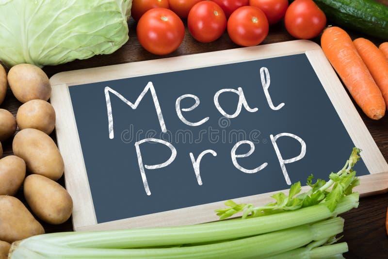 Målförberedelseord kritiserar på med grönsaker arkivfoton