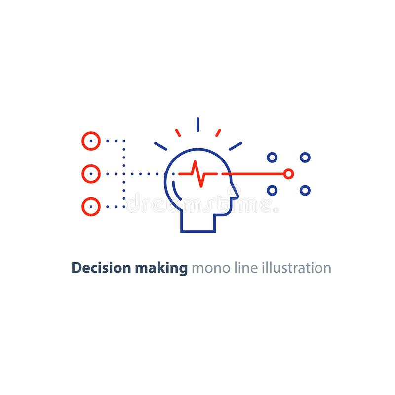 Målgruppen, beslutsfattande, det bias begreppet, väljer alternativ, idérikt tänka vektor illustrationer