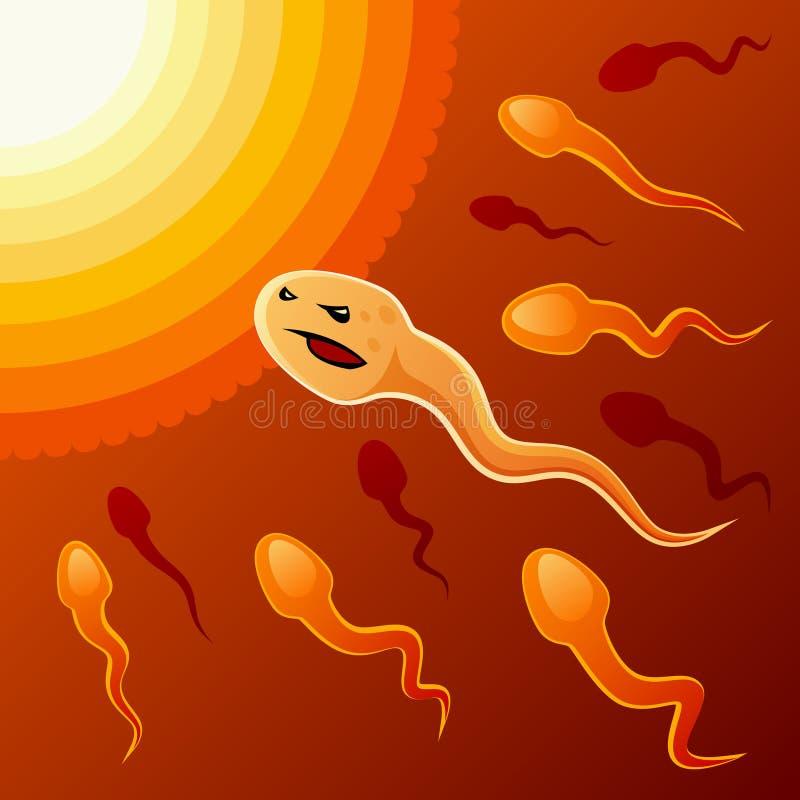 Målmedveten spermatozo stock illustrationer