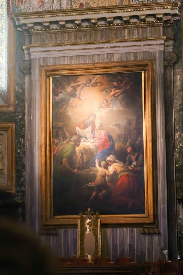 Målning av basilikan för St Petero, Vaticanen arkivbild