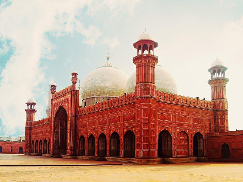 Målning av den Badshahi moskén Lahore fotografering för bildbyråer