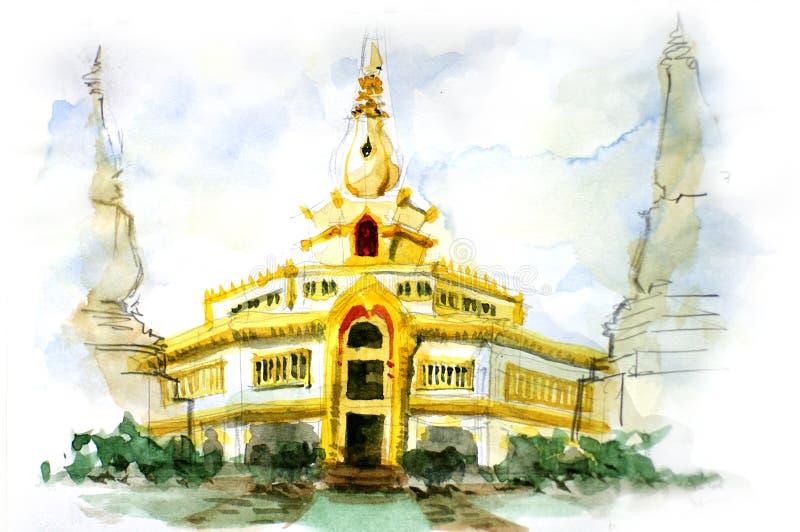 Målning av den thailändska pagoden stock illustrationer
