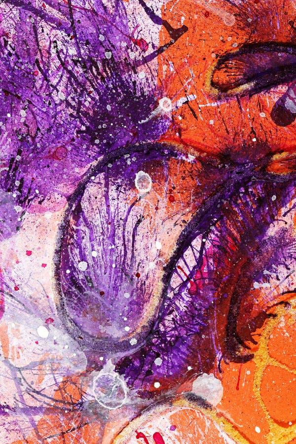 Målning av den vita gouachen och violett färgpulver arkivfoto