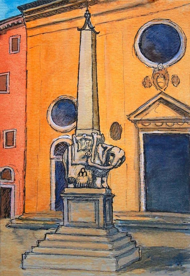 Målning av elefanten och obelisken på piazzadellaen Minerva i Rome royaltyfri illustrationer