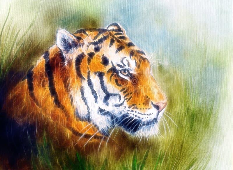 Målning av ett ljust väldigt tigerhuvud på ett mjukt tonat abstrakt begrepp stock illustrationer