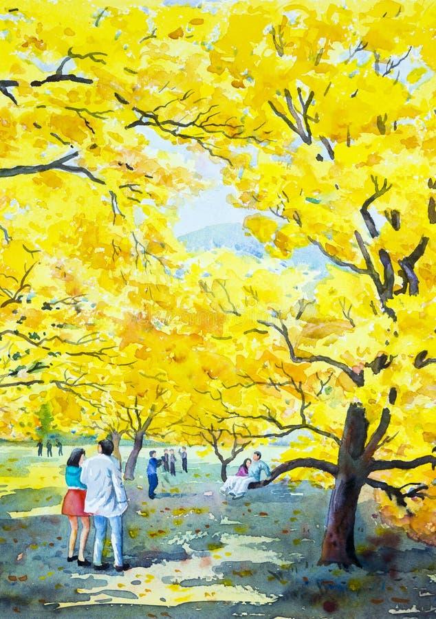 Målning av guld- trädblommor och parman, kvinna, familj royaltyfri illustrationer
