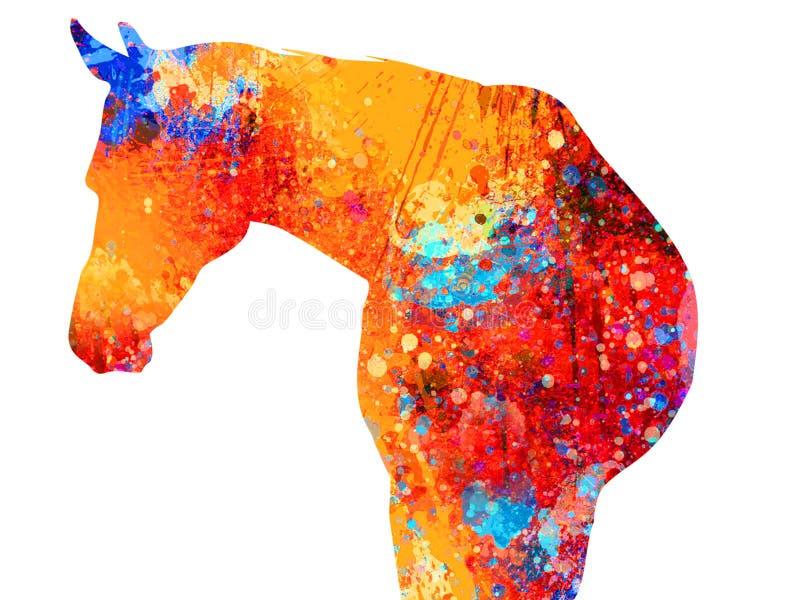 Målning för abstrakt begreppfärgstänkhäst - akryl på kanfasmålning stock illustrationer