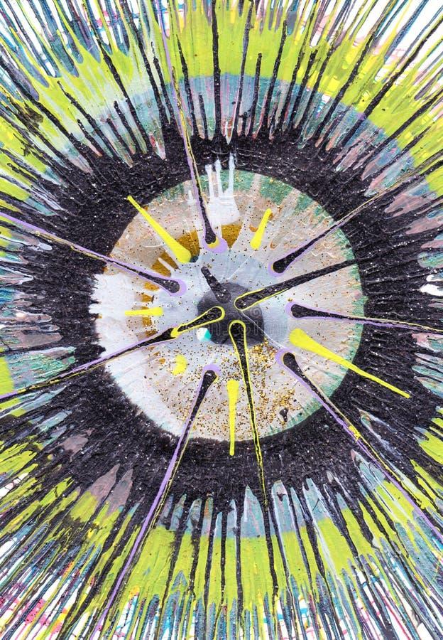 Målning för abstrakt expressionism - gul kontrast arkivfoto