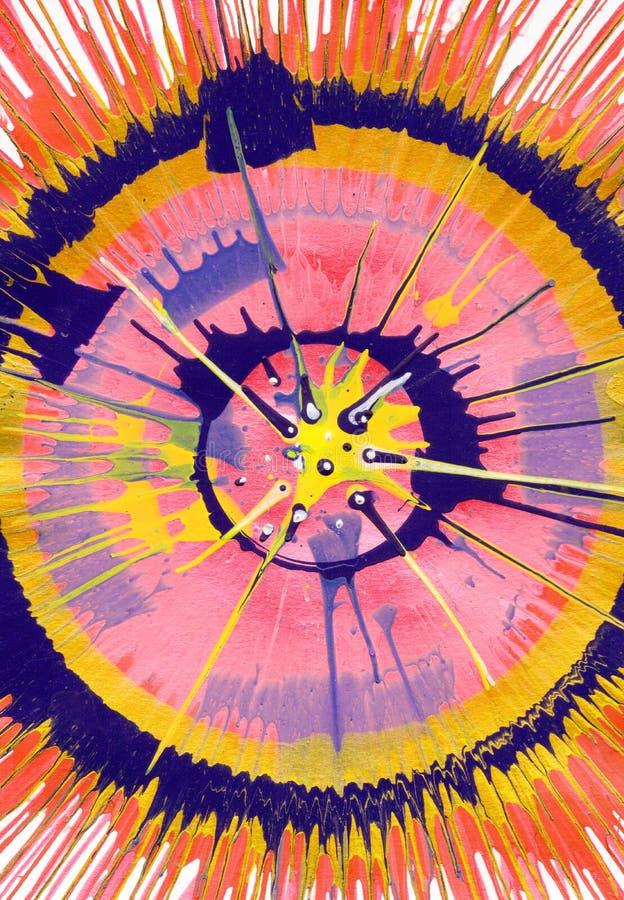 Målning för abstrakt expressionism - rosa färgbristning royaltyfri illustrationer