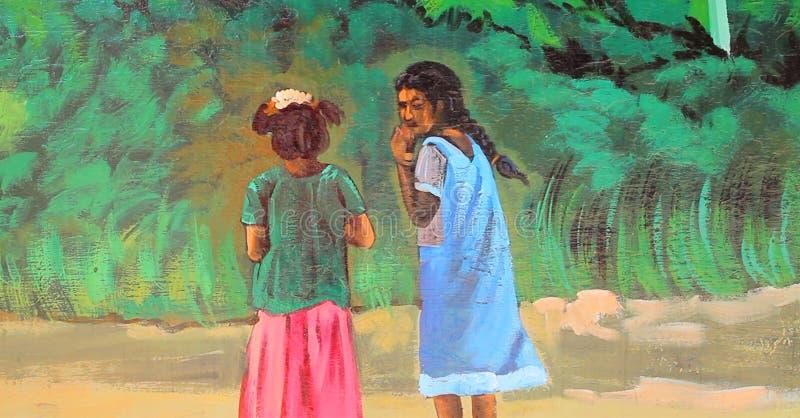 Målning för Chennai gatavägg stock illustrationer