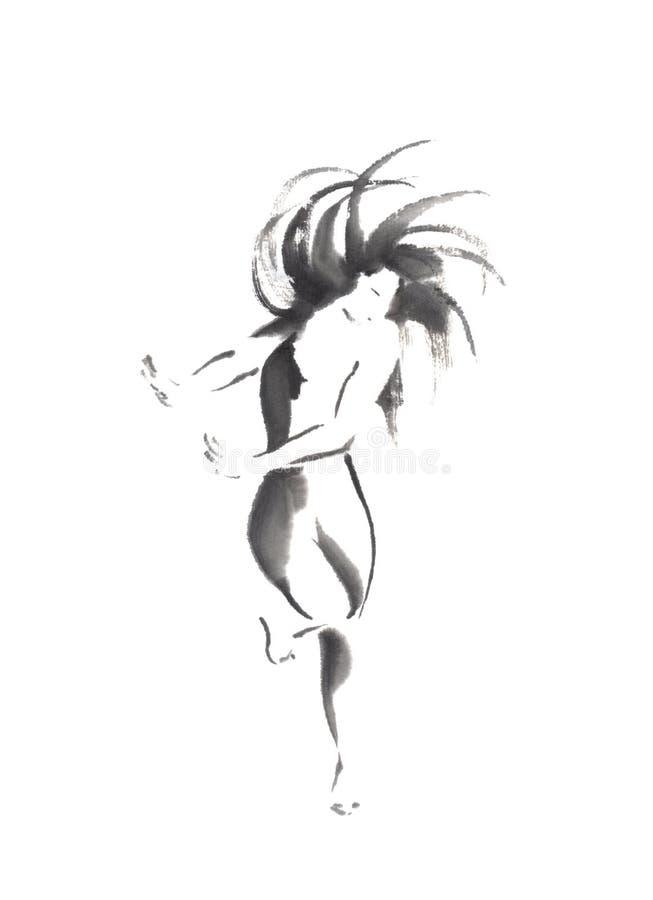 Målning för färgpulver för sumi-e för japansk stil för dansflicka original- stock illustrationer