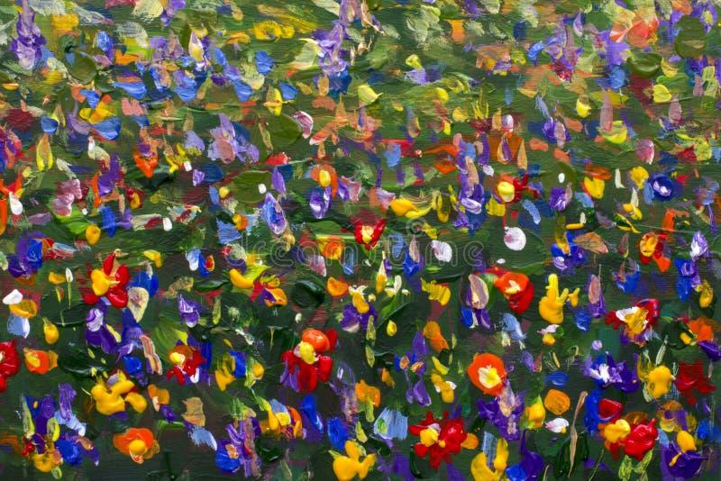 Målning för impressionism för blommafält olje- stock illustrationer