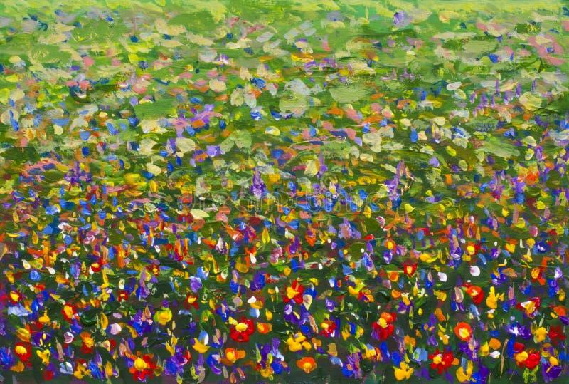 Målning för impressionism för blommafält olje- royaltyfri illustrationer