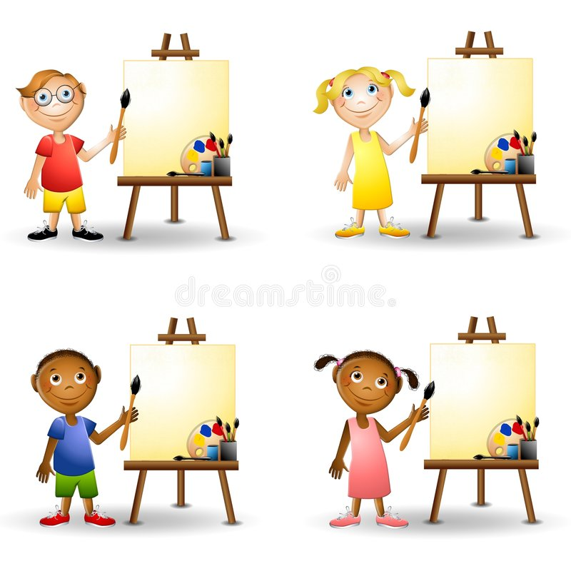 målning för konststaffliungar royaltyfri illustrationer