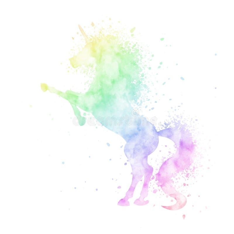 Målning för kontur för vektorvattenfärgenhörning med färgstänktextur som isoleras på vit bakgrund Gullig magisk varelse fotografering för bildbyråer