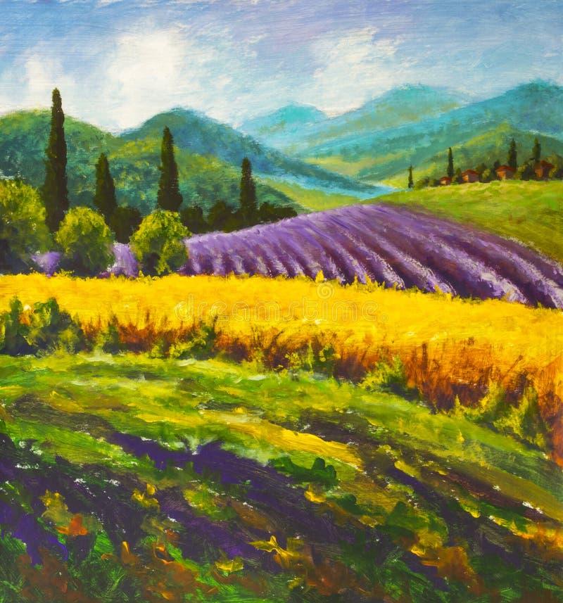 Målning för lavendellilafält Italiensk sommarbygd Franska Tuscany Fält av gul råg Lantliga hus och hög cypresstre arkivfoto