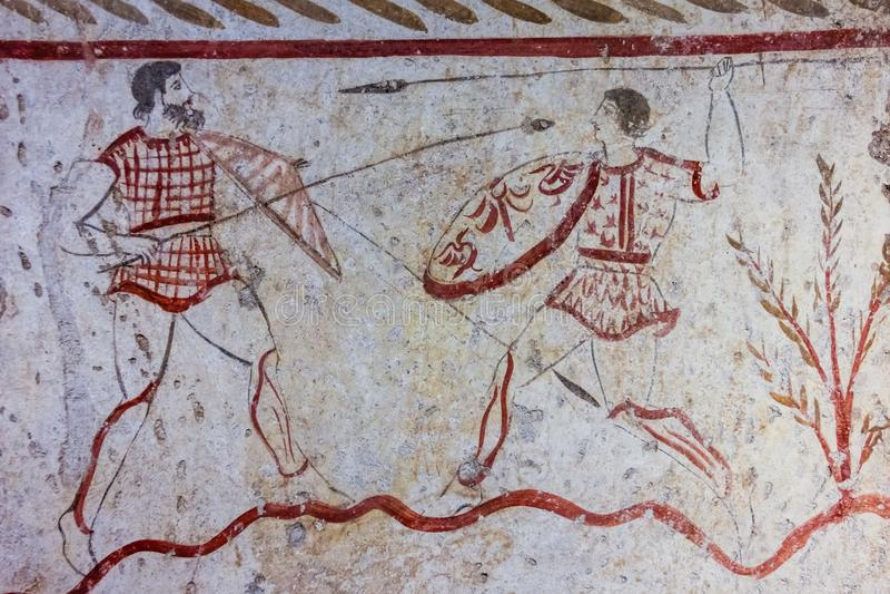 Målning för Lucanian freskomålninggravvalv Paestum salerno Campania italy royaltyfri foto