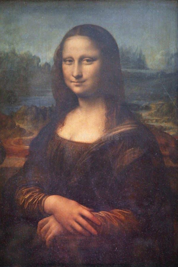 Målning för ` för `-Mona Lisa ` eller `-Mona Lisa av Leonardo da Vinci i Louvre Paris, Frankrike, oljer ombord av poppel arkivbild