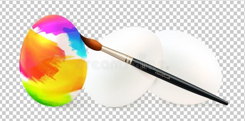 Målning för påskägg vid målarpenselvektorillustrationen med klara vita ägg som isoleras på stordiarasterbakgrund stock illustrationer