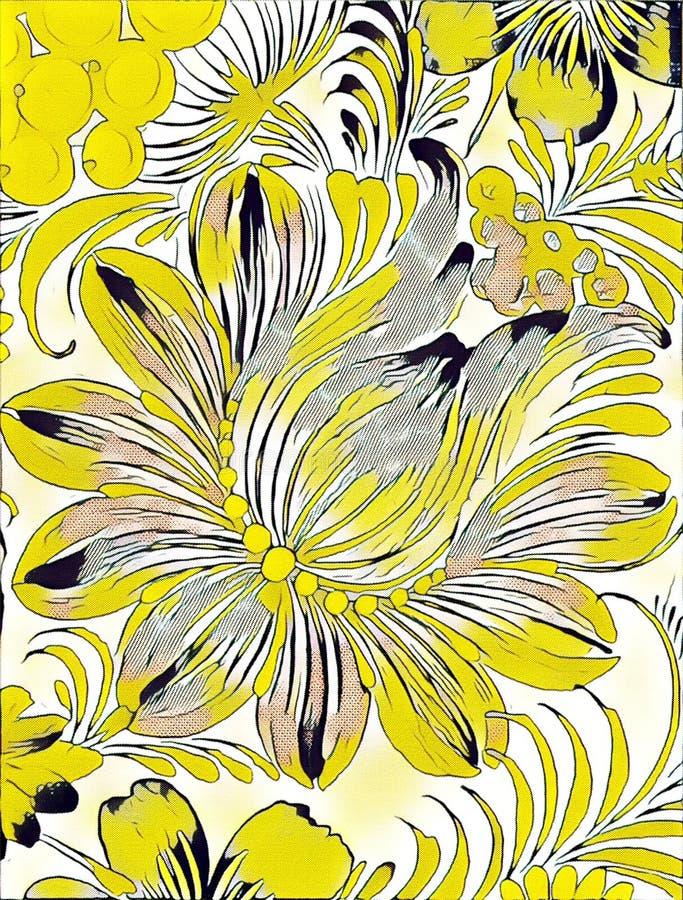 Målning för Petrikovka ` s Färgrik målningblomma med sidor Traditionell ukrainsk målning stock illustrationer