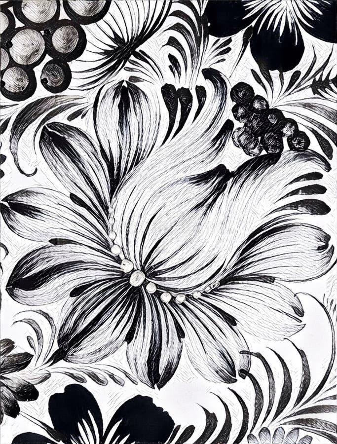 Målning för Petrikovka ` s måla blomman med sidor Traditionell ukrainsk målning stock illustrationer