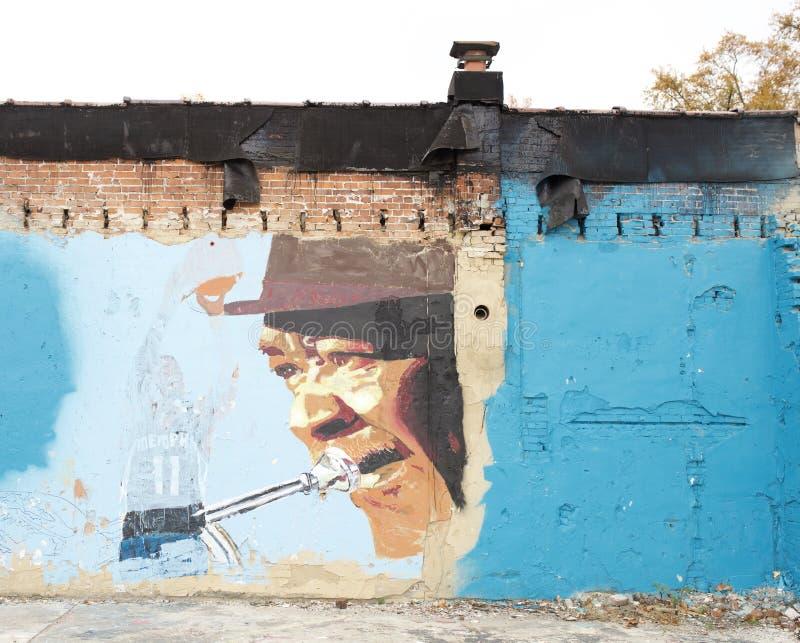Målning för trumpetspelare, Memphis, Tennessee royaltyfri fotografi