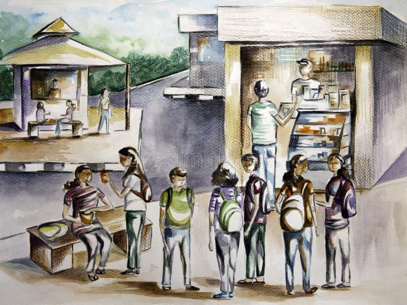 Målning för vattenfärg av en högskolakantinplats royaltyfri illustrationer