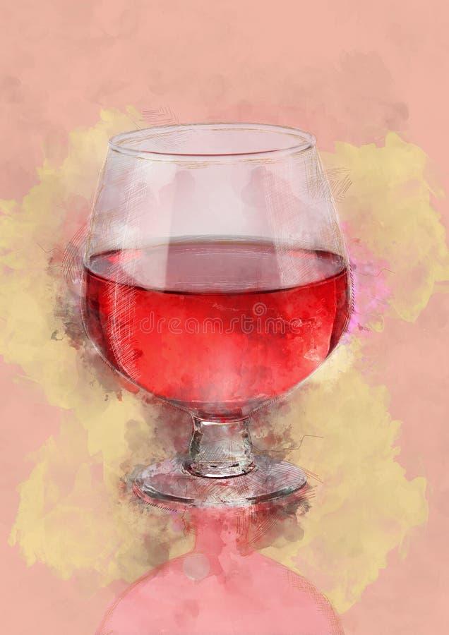 Målning för vattenfärg av rött vinexponeringsglas royaltyfri foto