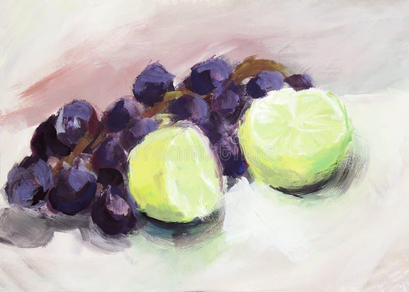 Målning för vattenfärg: druvor och limefrukt arkivbild