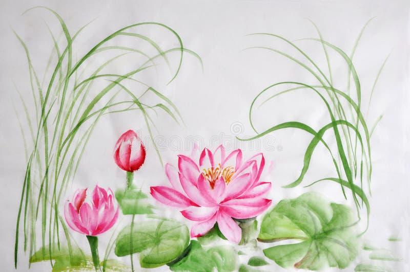 Målning för vattenfärg för Lotus blomma stock illustrationer