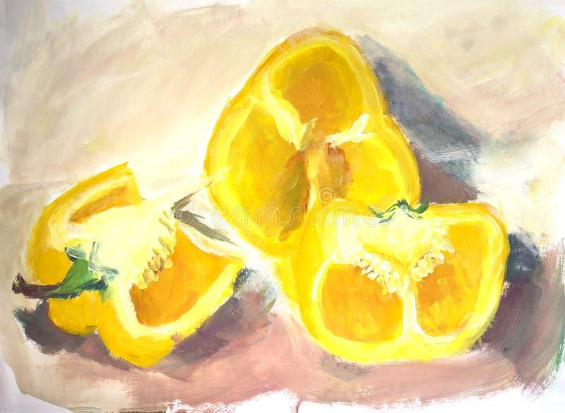 Målning för vattenfärg: gul paprika arkivbilder