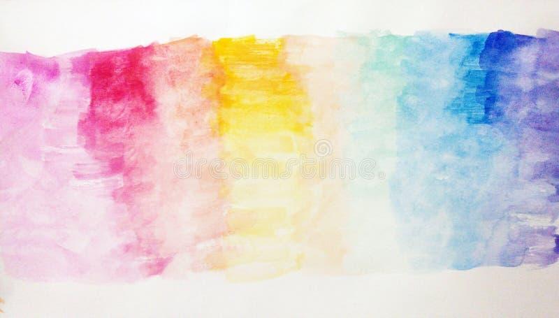Målning för vattenfärgen för abstrakt begrepp för barn` s kallade den dröm- regnbågen stock illustrationer