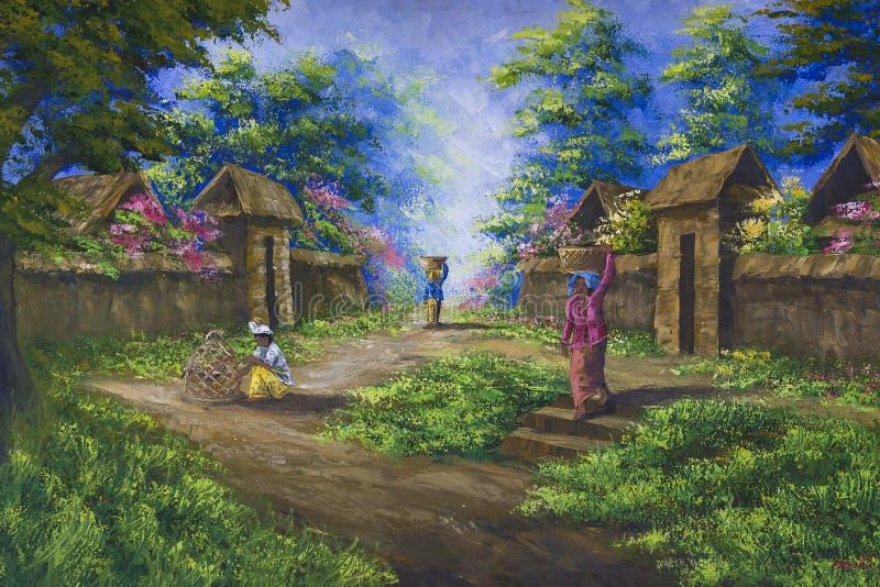 Målning målade vid en okänd Balinesekonstnär som säljs i marknaden för turister royaltyfri fotografi