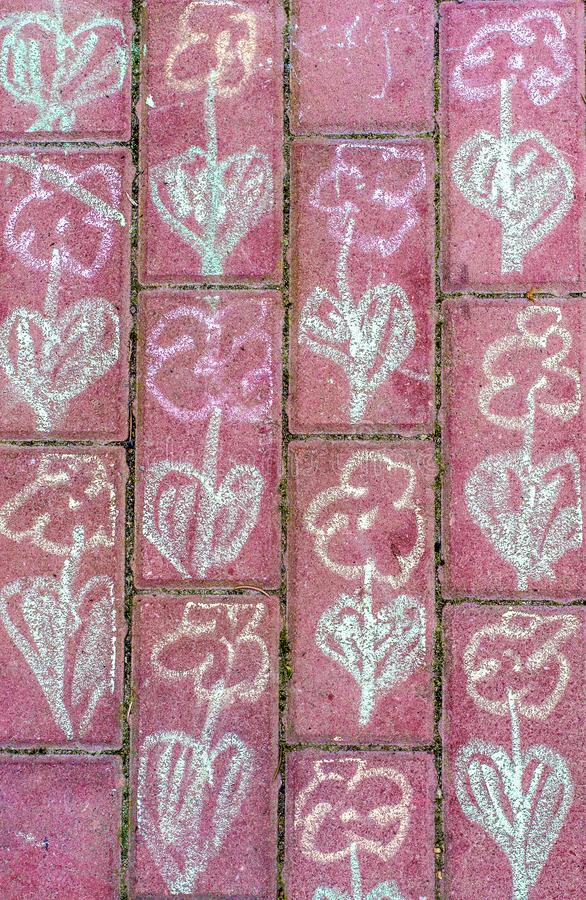 Målning med krita på en gångbana royaltyfri foto