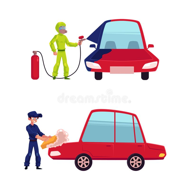 Målning och tvagning för auto mekaniker en bil stock illustrationer