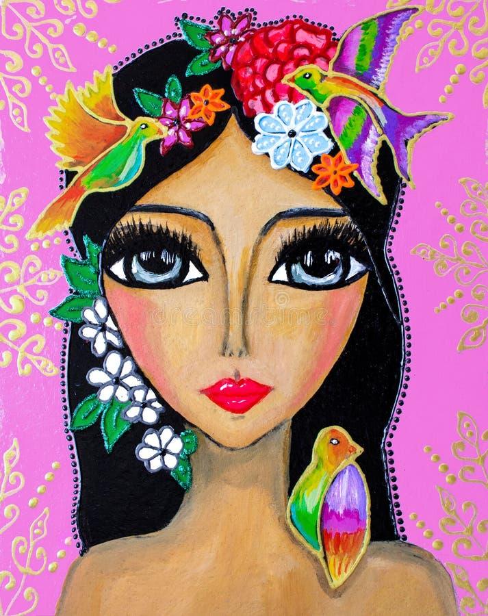 Målning stående av en ung kvinna med stora ögon, med blommor på hennes huvud och kolibrier, ljusa färger royaltyfri illustrationer
