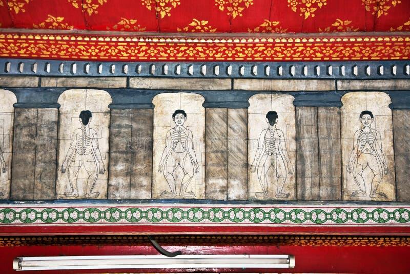 Målningar I Templet Wat Pho Undervisar Arkivbilder