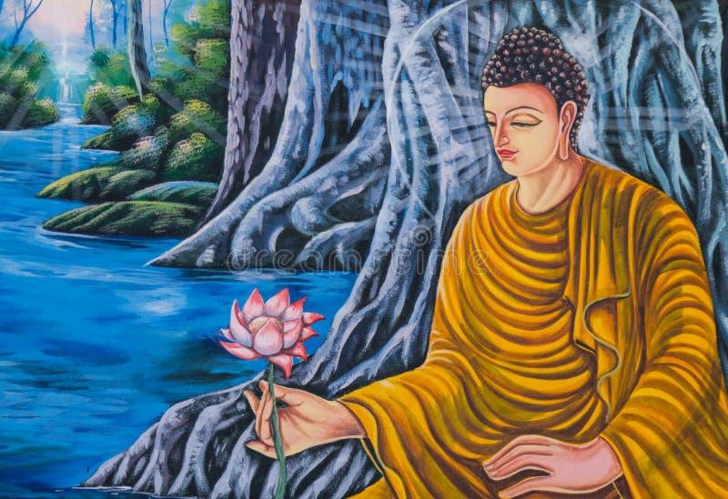 Målningar på den kyrkliga väggen, thailändsk stil som är vägg- i thailändska tempel arkivfoton