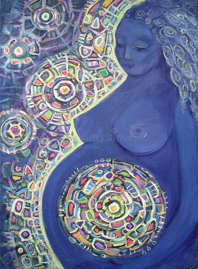 Målninggravid kvinna abstrakt bakgrundsfärg arkivbilder