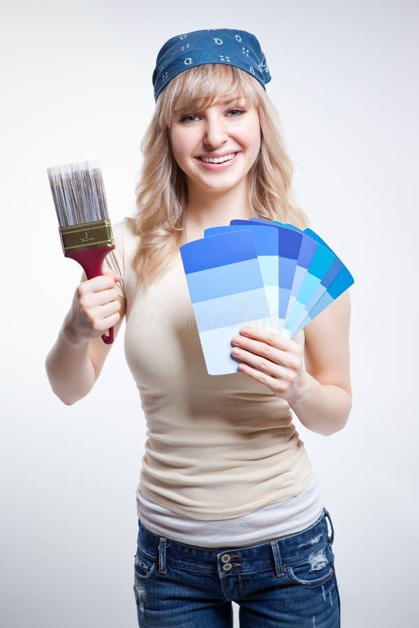 målningskvinna royaltyfria bilder
