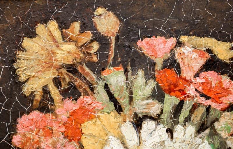 målningstilleben av blommor arkivfoto