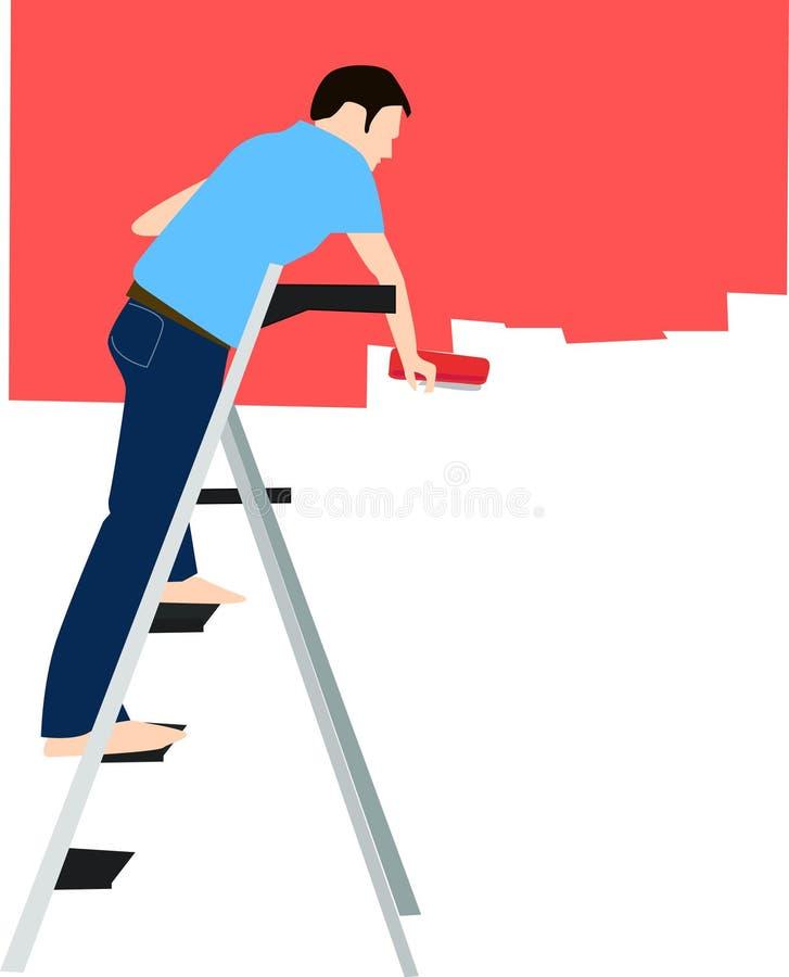 målningsvägg stock illustrationer