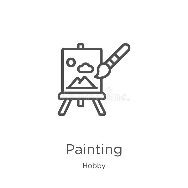 målningsymbolsvektor från hobbysamling Tunn linje illustration f?r vektor f?r m?lning?versiktssymbol Översikt tunn linje målnings stock illustrationer