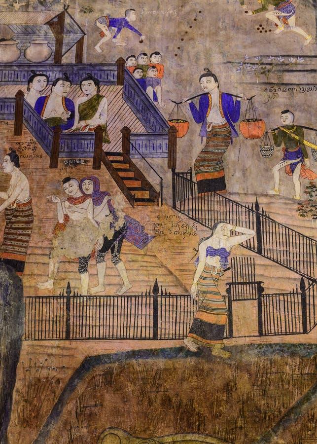 Målningväggmålningfolk som bor i nordliga Thailand forntida tider royaltyfria foton