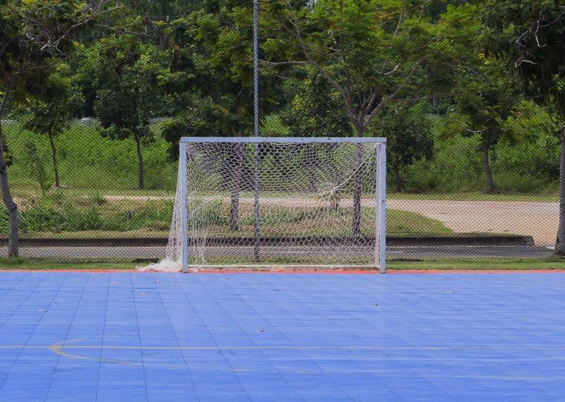 Målstolpe i futsal domstol royaltyfri fotografi