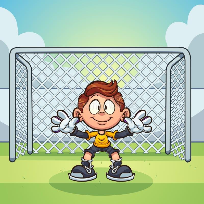 Målvårdareunge med fotbollmålbakgrund royaltyfri illustrationer