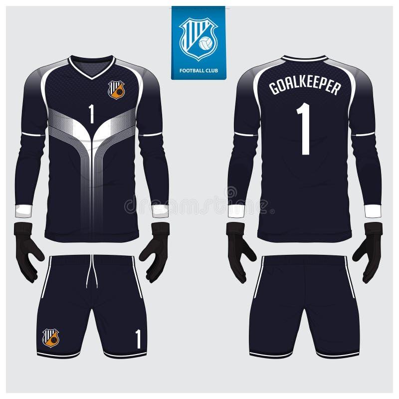 Målvaktärmlös tröja eller fotbollsats, lång muffärmlös tröja, design för målvakthandskemall T-tröjaåtlöje upp Framdel baksidasikt stock illustrationer