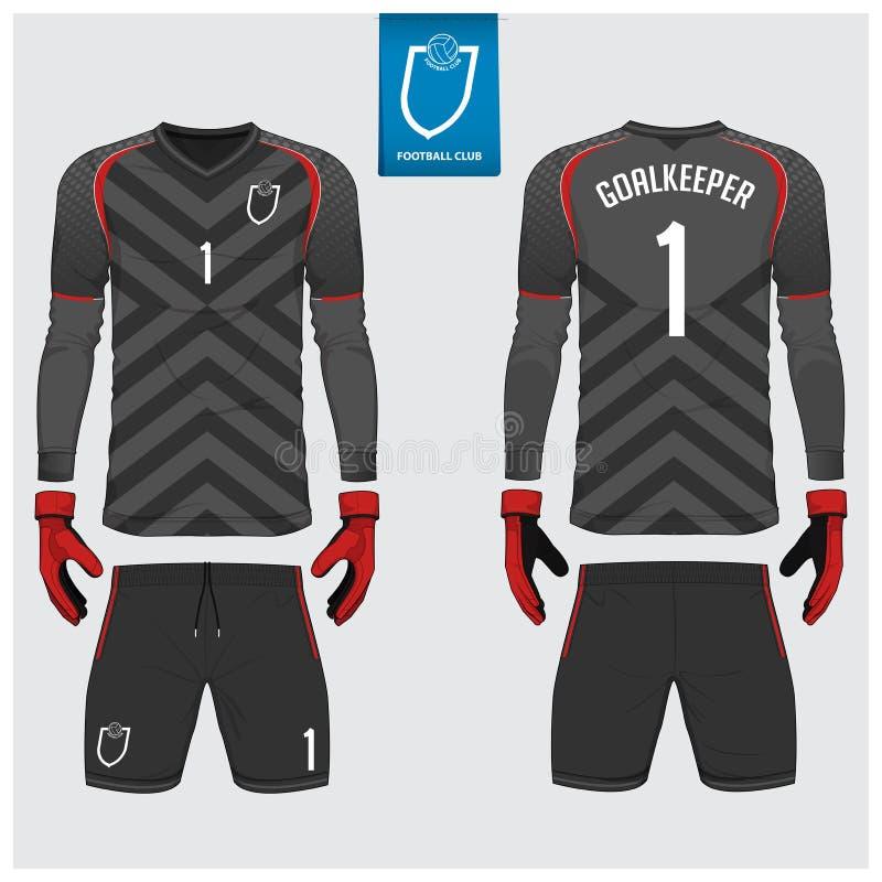 Målvaktärmlös tröja eller fotbollsats, lång muffärmlös tröja, design för målvakthandskemall T-tröjaåtlöje upp Framdel baksidasikt royaltyfri illustrationer