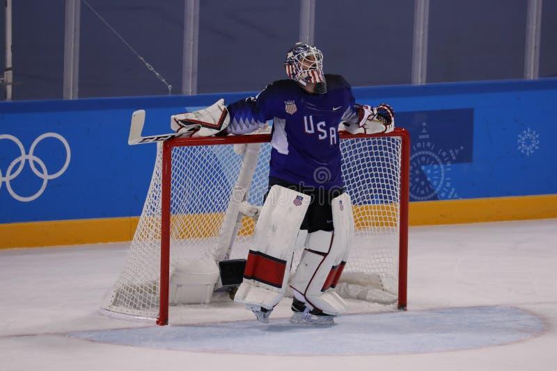 Målvakt Ryan Zapolski av laget USA i handling mot Team Slovenia i lek för runda för förberedande åtgärd för ishockey för man` s p arkivfoton